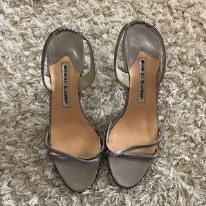 Manolo Blahnik Heels Silver Metallic Size 35